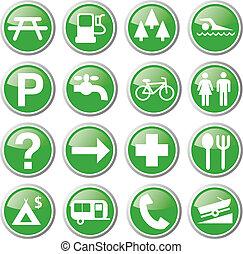 rozrywka, zielony, ikony