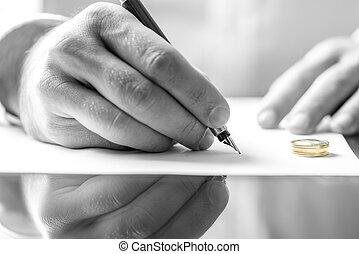 rozwód, znacząc, papier