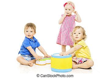 rozwój, dzieciaki, odizolowany, dzieci, mały, toys., niemowlę, interpretacja