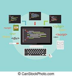 rozwój, sieć, development., illustration., płaski, pojęcie, kodowanie, design., programowanie