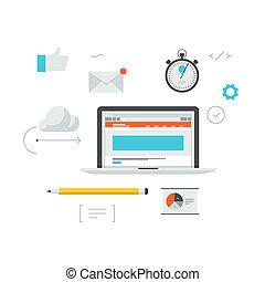 rozwój, sieć, ilustracja, workflow