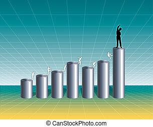 rozwój, wykres, handlowy