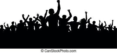 rozwścieczony, sylwetka, tłum, ludzie, gniewny, protesters, wektor, motłoch