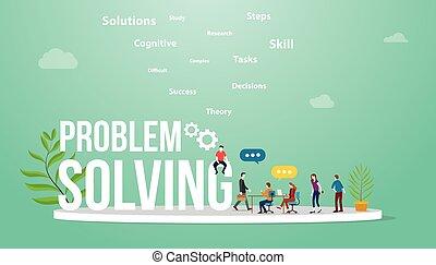 rozwiązać, drużyna, ludzie, dyskutować, handlowy, problemy, wektor, cielna, słowo, debata, pojęcie, rozwiązywanie, -, problem, spotkanie, tekst