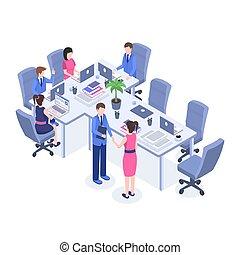 rozwiązywanie, isometric, pracownicy, kierownicy, illustration., biuro, miejsce pracy, kolor, brainstorming, pracownicy, współudział, szef, projekt, characters., wektor, teamwork, spotkanie, kooperacja, problem, rysunek, 3d