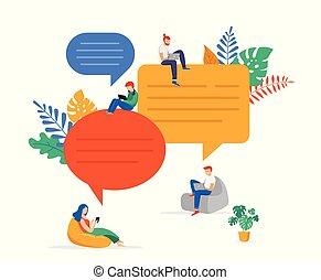 rozwiązywanie, płaski, rewizja, grupa, ludzie, komunikacja, brainstorming., młody, ilustracja, gaworząc, pojęcia, wektor, problem, styl