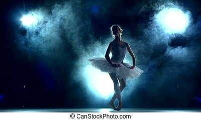 ruch, balerina, powolny, trening, klasa, błękitny