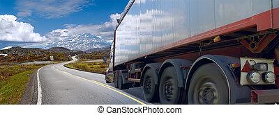 ruch, góra, pół--samochód, droga