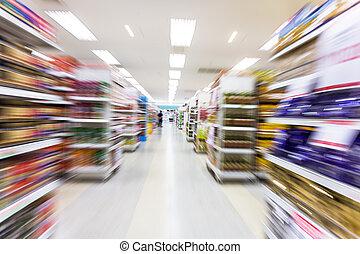 ruch, opróżniać, plama, nawa boczna, supermarket