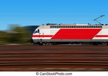 ruch, pociąg, mocny, plama