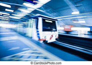 ruch, pociąg, skutek, metro, plama