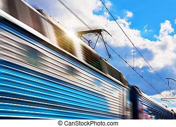 ruch, pociąg, szybkość, plama