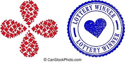ruch, ruch obrotowy, garnitur, interpretacja, zwycięzca, karta, loteria, tłoczyć, grunge, diament