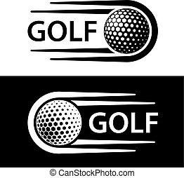 ruch, symbol, kreska, golfowa piłka
