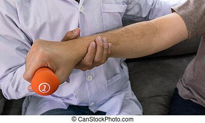 ruch, terapia, pracujący, pacjent, fizykoterapeuta, fizyczny, concept.