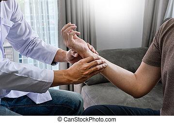 ruch, terapia, pracujący, pojęcie, pacjent, fizykoterapeuta, fizyczny