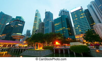 ruch, timelapse, noc, singapore