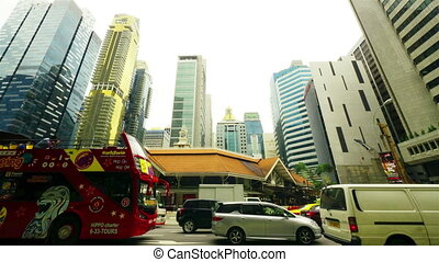ruch, timelapse, ulica., singapore