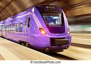 ruch, wysoki, pociąg, szybkość, plama