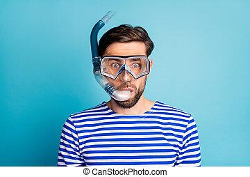 ruchomy, barwny, maska, koszula, kolor, korale, tło, dychająca rura, fotografia, facet, błękitna ryba, emocjonalny, tchórzliwy, nurkowanie, pasiasty, odizolowany, nosić, zobaczcie, głęboki, turysta, marynarz, podwodny, przystojny