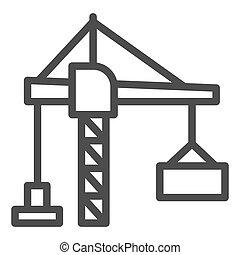 ruchomy, ikona, podnoszenie, port, graphics., podnosząc, ikona, wektor, styl, lifter, białe tło, concept., szkic, żuraw zbudowania, maszyny, pojęcie, kontener, kreska, znak