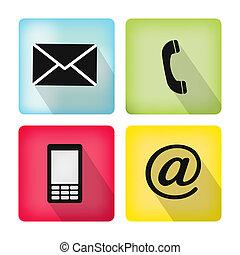 ruchomy, ikony, koperta, buttonsset, -, kontakt, telefon, poczta
