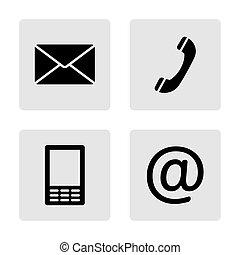 ruchomy, komplet, ikony, koperta, -, kontakt, telefon, monochromia, poczta