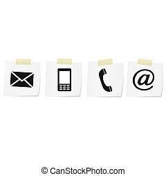 ruchomy, komplet, ikony, koperta, -, kontakt, telefon, poczta