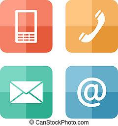 ruchomy, komplet, ikony, koperta, -, pikolak, kontakt, telefon, poczta