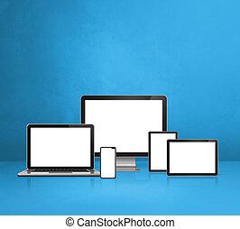 ruchomy, komputer, tabliczka, laptop, cyfrowy, pc., telefon, błękitne tło