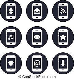 ruchomy, kontakt, komplet, głoski, ikony