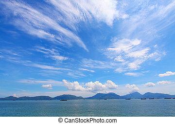 ruchomy, na, chmury, krajobraz, ocean