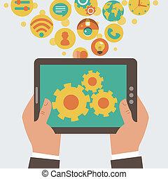 ruchomy, rozwój, app, wektor, conce
