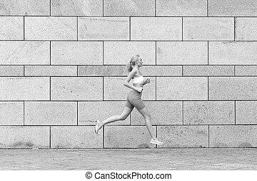 ruchomy, sport., mój, pasaż, kazania, trening, store., fizyczny, cieszący się, sport, activities., forward., outdoors., towary, sexy, fitness., trzym!ć, terapia, wyścigi, sportsmenka, mając na sobie