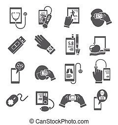 ruchomy, zdrowie, komplet, czarnoskóry, ikony
