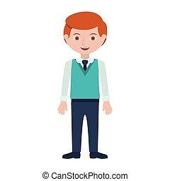 rudzielec, krawat, formalny, człowiek, garnitur