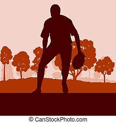 rugbista, wektor, las, tło, krajobraz, człowiek