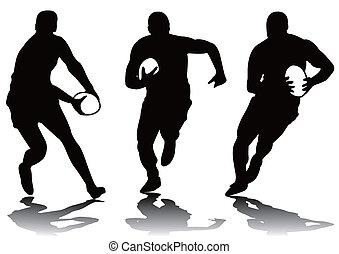 rugby, sylwetka, trzy