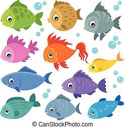 ryby, 2, komplet, stylizowany, temat