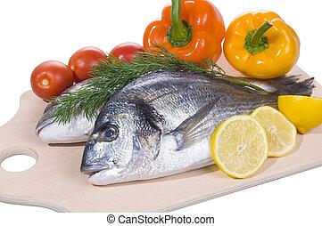 ryby, gilthead, cięcie, dwa, deska