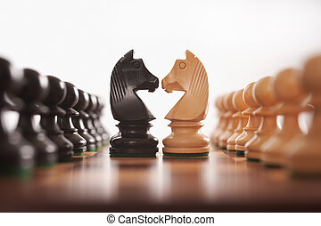 rycerz, hałasy, szachy, dwa, ręczy, wyzwanie, środek