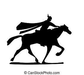 rycerz, horse., jeżdżenie