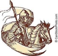 rycerz, koń, bandera, dzierżawa, rysunek