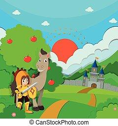 rycerz, koń, ziemia