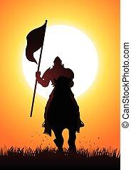rycerz, nośna bandera, koń