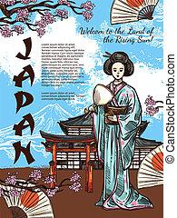 rys, afisz, podróż, symbolika, wektor, japonia