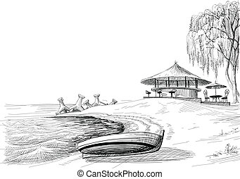 rys, bar, brzeg, wektor, plaża, łódka
