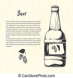 rys, bar, menu., ilustracja, piwo, wektor, butelka, style.