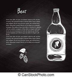 rys, bar, menu, ilustracja, piwo, wektor, butelka, style.