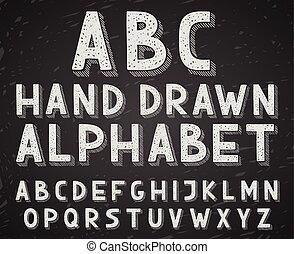 rys, beletrystyka, alfabet, ręka, kreda, pisemny, wektor, chalkboard, doodle, pociągnięty, albo, tablica